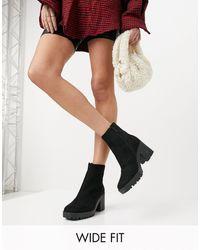 Raid Wide Fit - Черные Ботинки На Массивной Подошве Для Широкой Стопы Becca-черный Цвет - Lyst