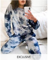 Noisy May Exclusivité - Sweat-shirt d'ensemble effet tie-dye - Bleu et blanc