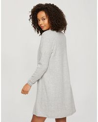 Miss Selfridge Soft Ribbed Robe - Grey