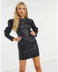 AX Paris - Черное Облегающее Платье Мини Из Искусственной Кожи С Пышными Рукавами -черный - Lyst
