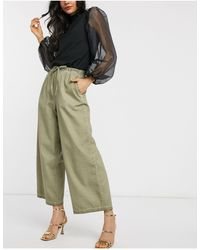 ASOS Pantaloni con fondo ampio lavaggio a olio - Verde