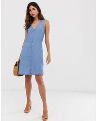 Vero Moda – Minikleid mit Knopfleiste vorn - Blau