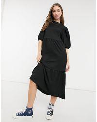 New Look Robe babydoll mi-longue à volants - Noir