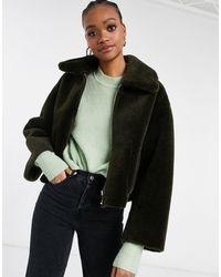 Mango Cropped Faux Fur Reversible Jacket - Brown
