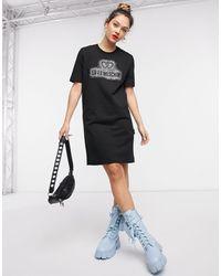 Love Moschino Черное Платье-рубашка С Логотипом Из Стразов -черный
