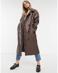 ASOS Leather Look Oversized Coat - Brown
