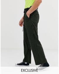 Collusion Pantalon large à fines rayures avec taille haute ceinturée - Fluo - Noir