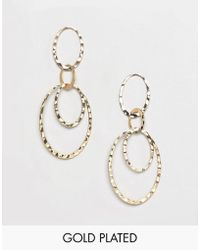Pilgrim - Gold Plated Multi Hoop Drop Earrings - Lyst