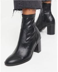 Bershka Heeled Boots - Black