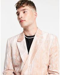 ASOS Skinny Double Breasted Velvet Plisse Blazer - Pink