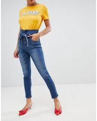 Boohoo Jean skinny à taille haute froncée - Délavage moyen - Bleu