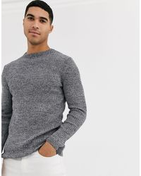 New Look Ribbed Muscle Fit Sweater - Gray