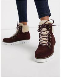 Vero Moda Leather Hiking Boots-purple