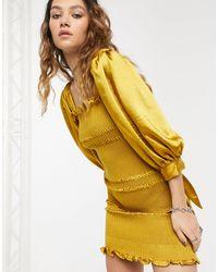 Capulet Fallon Smocked Satin Mini Dress - Metallic