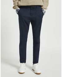 Pull&Bear Pantalon chino habillé coupe ajustée - Bleu marine