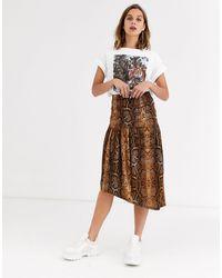 Soaked In Luxury Falda con cintura caída y diseño - Marrón