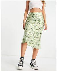 Never Fully Dressed Geometric Tile Print Midi Slip Skirt Co-ord - Green
