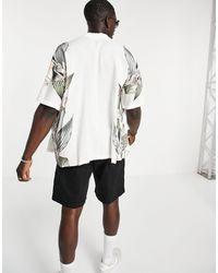 Pull&Bear Белая Рубашка С Короткими Рукавами И Цветочным Принтом -белый