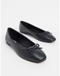 Glamorous Ballet Court Shoes With Square Toe - Black