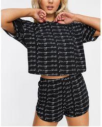 Missguided Пижамный Комплект Черного Цвета С Принтом В Виде Надписей -черный