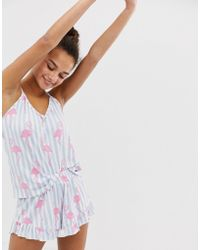 Chelsea Peers Stripe Flamingo Print Cami Pyjama Set