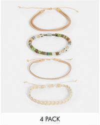 ASOS Set Van 4 Armbanden Met Leer En Geweven Details - Meerkleurig