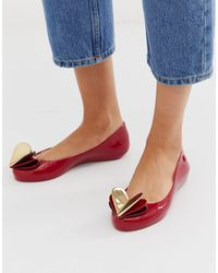 Zaxy Valentines Heart Flat Shoes - Red