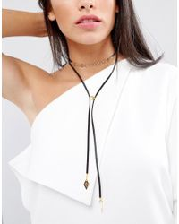 Vanessa Mooney - Leather Look Bolo Choker Necklace With Gold Plating Chain And Bead Detailing - Lyst