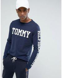 494868e3 Hilfiger Denim - Tommy Long Sleeve Top Tommy Sleeve Logo In Navy - Lyst