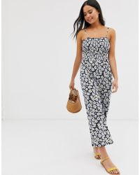 Glamorous Cami Jumpsuit With Shirring In Daisy Print - Blue