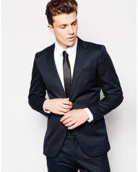 Reiss Cotton Suit Jacket With Notch Lapel In Slim Fit - Blue
