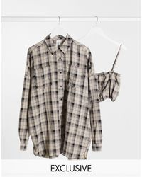 Collusion Camisa extragrande con hombros caídos y diseño - Multicolor