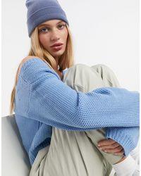 AX Paris Голубой Укороченный Джемпер С V-образным Вырезом -синий