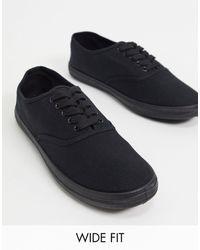 ASOS Wide Fit Oxford Plimsolls - Black