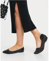 New Look Черные Стеганые Туфли На Плоской Подошве С Заостренным Носом -черный Цвет