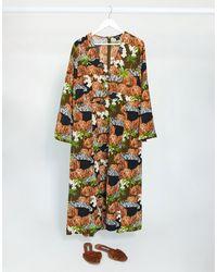 Monki Midi Dress With Graphic Print - Multicolor