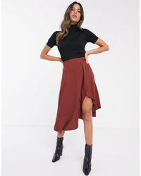 UNIQUE21 Asymmetric Wrap Skirt With Button Detail-brown - Red