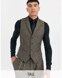 Twisted Tailor Tall - Gilet super skinny a spina di pesce - Marrone