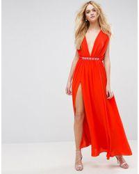 ASOS - Deep Plunge Embellished Waist Maxi Dress - Lyst