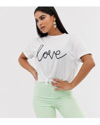 Missguided Slogan T-shirt In White