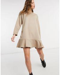 New Look - Платье-свитшот Бежевого Цвета С Удлиненным Подолом -коричневый Цвет - Lyst