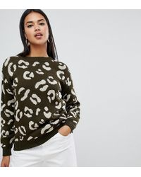 Boohoo - Exclusive Leopard Jumper In Khaki - Lyst