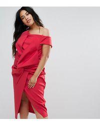 ASOS Платье Миди С Открытыми Плечами И Бантом Premium - Красный