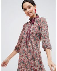 Traffic People - Long Sleeve Printed Shift Dress With Bow Detail - Lyst