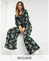 Reclaimed (vintage) Inspired Jumpsuit With Lace Panel Detail - Black