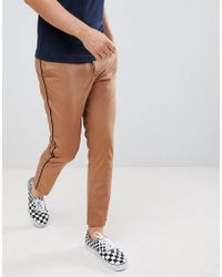 ASOS - Design Slim Cropped Pants In Camel With Black Side Piping - Lyst