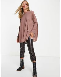 ASOS Top With Side Splits And Long Sleeve - Multicolour