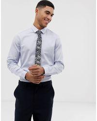 ASOS Wedding Slim Sateen Shirt - Blue