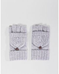 Vincent Pradier Wool And Cashmere Mix Gloves With Foldover Finger Cover - Gray