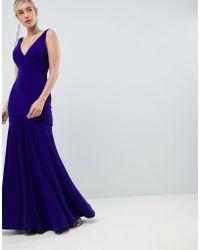 Jovani - Slinky Plunge Pleated Maxi Dress - Lyst